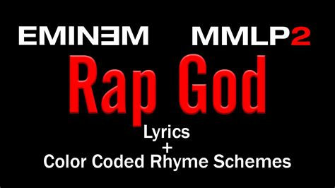 colored lyrics eminem rap god lyric colored rhyme scheme