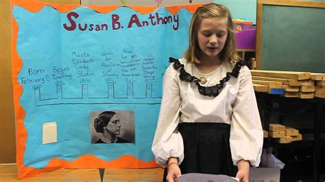 biography dress up ideas susan b anthony by a 5th grader youtube