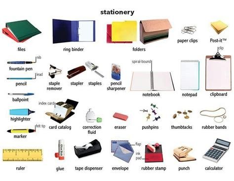 Office Supplies Definition Stationary Efl Infographics Vocabulary And Idioms