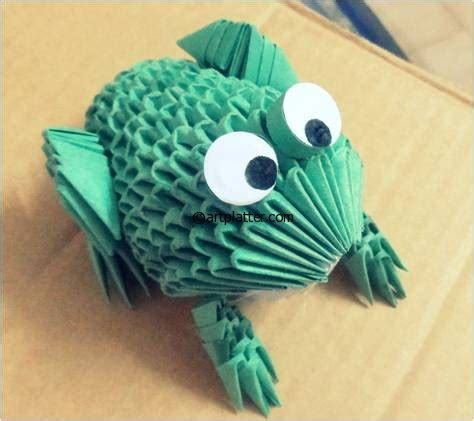 How To Make A 3d Frog Out Of Paper - 3d origami frog platter