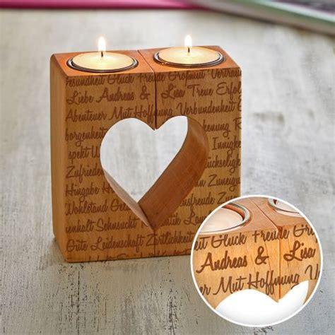 Kerzenhalter Herz by Echtholz Kerzenhalter Set Herz Liebesworte Mit Namensgravur