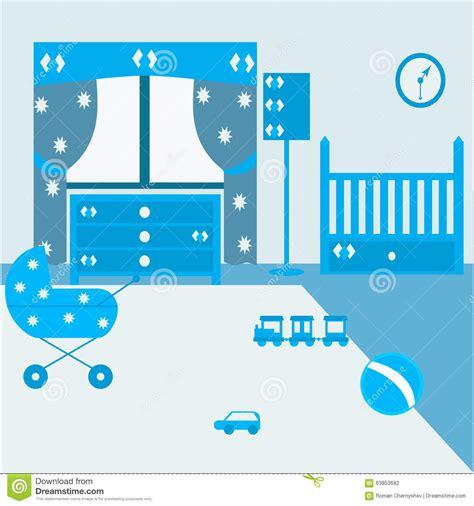 newborn baby bedroom furniture child room for the newborn boy baby bedroom with furniture stock vector image