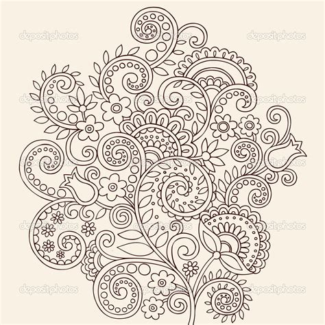 paisley pattern doodle hand drawn flowers and vines abstract henna mehndi paisley