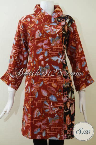 Dress Batik Wanita Merah Hitam baju batik print wanita modern dress batik formal