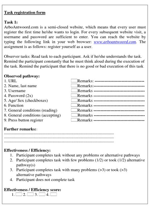 exle of a usability task observation form task 1