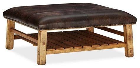 rustic leather ottoman caden leather square ottoman rustic footstools and