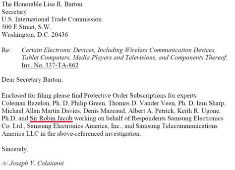 Complaint Letter To Judge Uk Judge Who Chastised Apple Samsung Apology Now Consulting As Patent Expert For Samsung