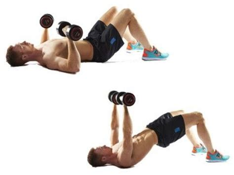 dumbbell bench press on the floor build a six pack at home in three weeks flats home and