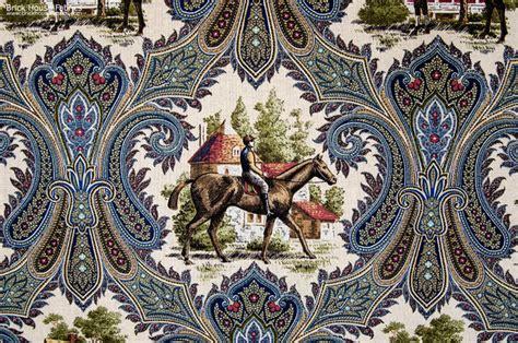 horse upholstery fabric horse jockey fabric paisley blue toile traditional