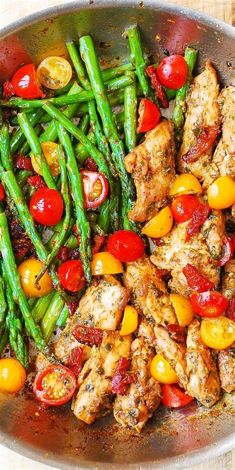 Healthy Recipe by One Pan Pesto Chicken And Veggies Recipe Cherry