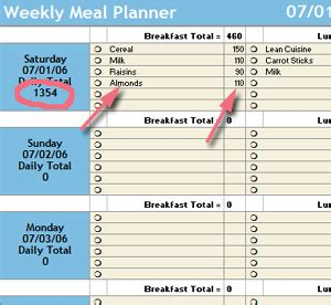 Meal Plan Spreadsheet by Starling Fitness Fitness Diet And Health Weblog