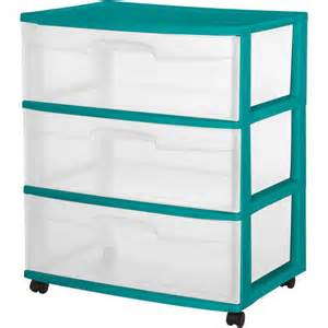 sterilite 3 drawer wide cart teal sachet walmart