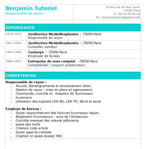 faire un cv open office simple et efficace modele de cv
