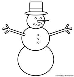 snowman coloring page winter
