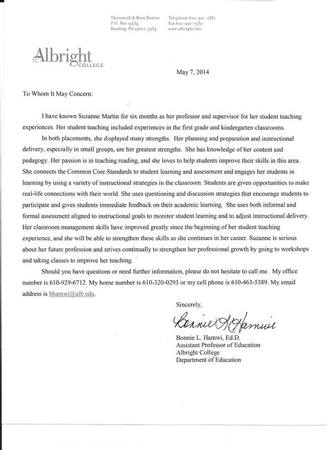 Reference Letter For Special Education Letter Of Recommendation For Special Education Student
