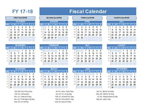 2018 Fiscal Calendar Fiscal Planner Template 2017 Free Printable Templates