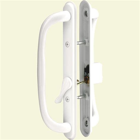 Keyed Patio Door Handle Everbilt 4 1 2 In White Light Duty Door Pull 15094 The Home Depot