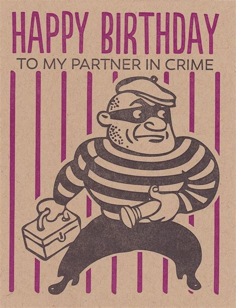 black letterpress happy birthday partner in crime
