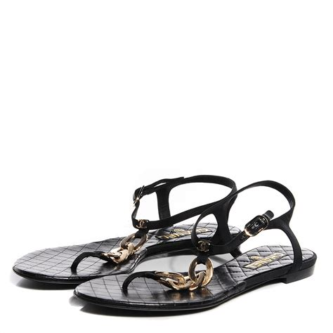 chanel sandals chanel leather cc chain sandals 39 5 black gold 94152