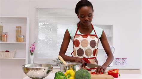 Black Cooking In The Kitchen by Ethnicity Cooking Hd Stock Footage