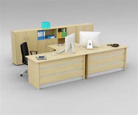 desks for two person office two person office desk with matching cabinets 3d model obj
