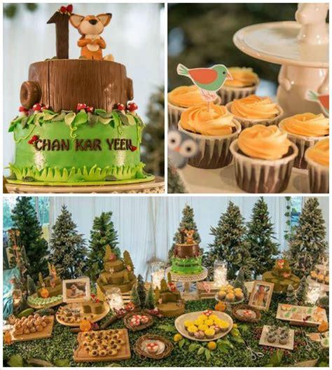 animal themed decorations woodland animal birthday via kara s ideas