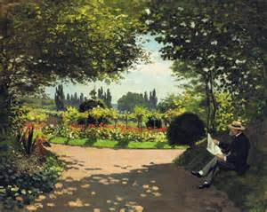 adolphe monet reading in the garden claude monet