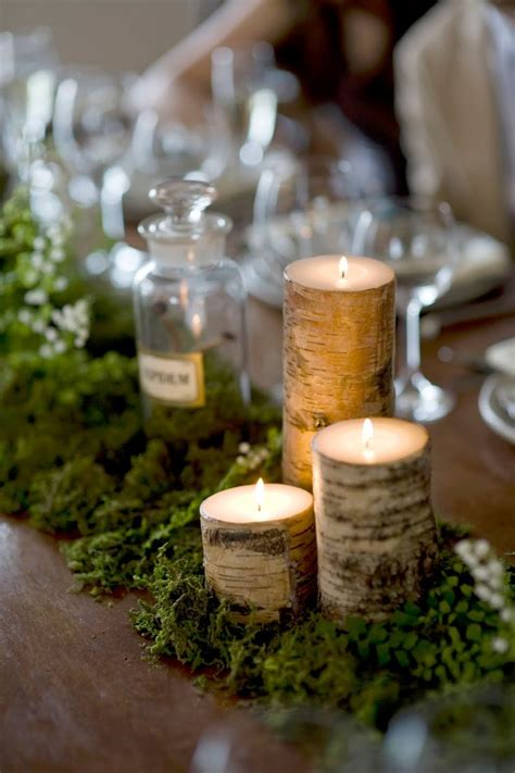Candle Runner Centerpiece Birch Bark Candles And Moss Center Table Runner