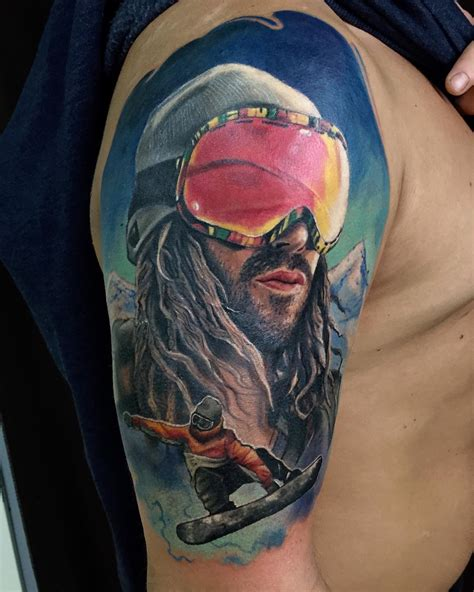 snowboarder tattoo on shoulder best tattoo ideas gallery