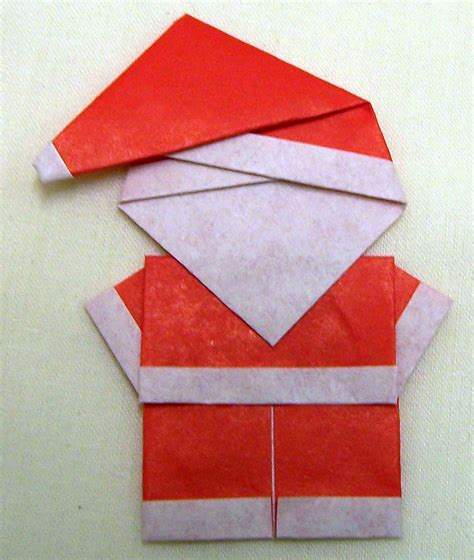 Origami Santa - folded paper santa crafts