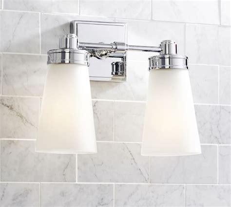 double sconce bathroom lighting pearson double sconce pottery barn