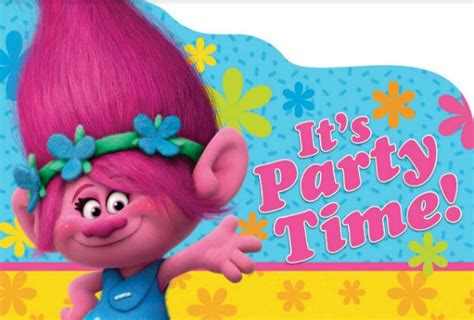 C634 Suki Rainbow Dress Pony Pink trolls invitations envelopes 8pk