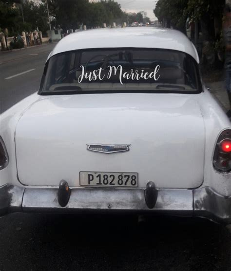 Auto Sticker Just Married by Just Married Car Decal Just Married Car Sticker Newlywed