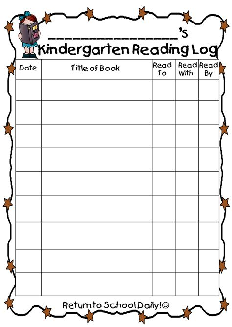 printable monthly reading log for kindergarten printable kindergarten reading log reading
