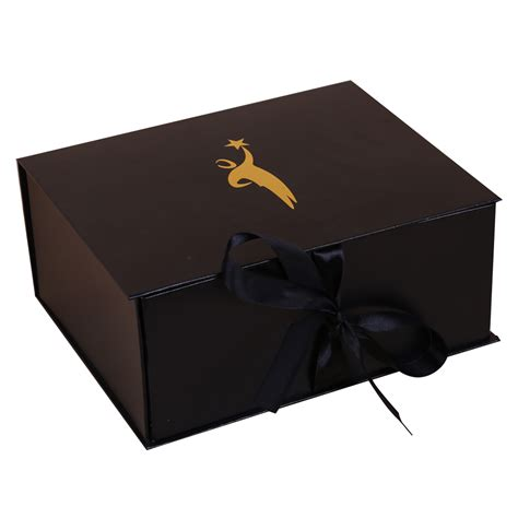 Folding Paper Boxes - customized folding paper box with ribbon closure dhp factory