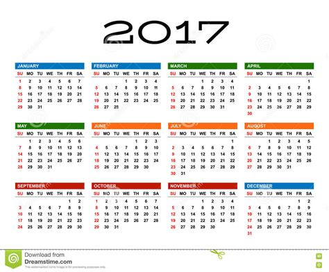 Year Of The Calendar Calendar Of November In The Year 2017 Vector Illustration