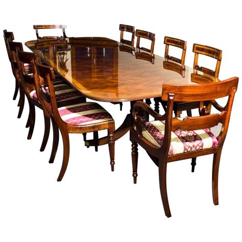 Regency Style Dining Table And Chairs Mahogany Regency Style Dining Table And Set Of Ten Chairs For Sale At 1stdibs