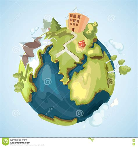 hogar naturaleza y ciencia l earth planet with buildings trees mountains and nature elements vector illustration in cartoon