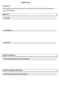 printable questionnaire template blank survey template free premium templates