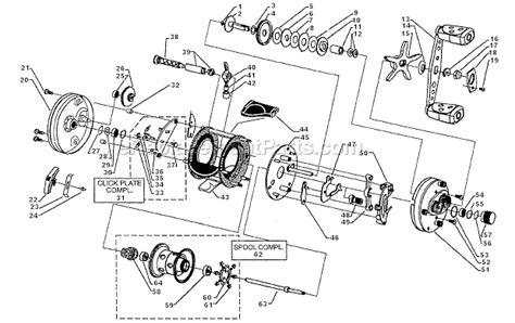 abu garcia reel parts diagram abu garcia record no 60 parts list and diagram 15 00