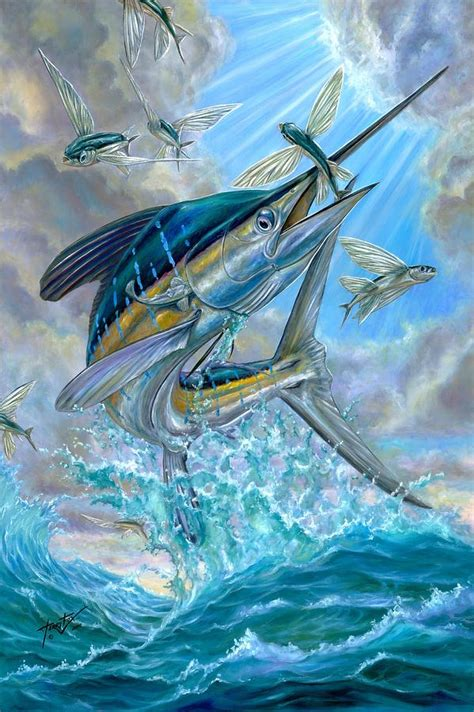 jumping white marlin and flying fish painting by terry fox