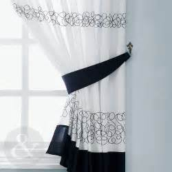 Black White Kitchen Curtains Retro Black White Embroidered Kitchen Curtain Curtains Uk