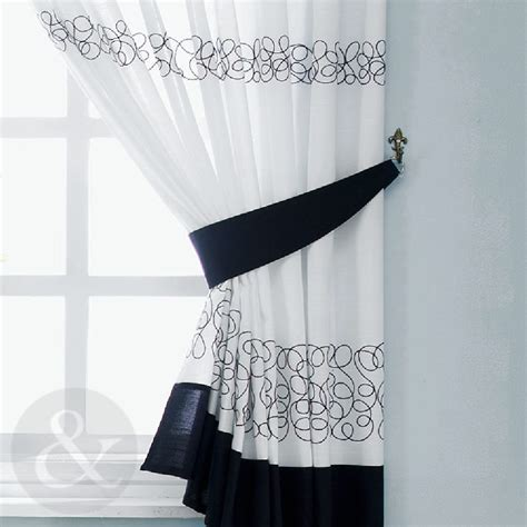 Kitchen Curtains Black And White Retro Black White Embroidered Kitchen Curtain Curtains Uk