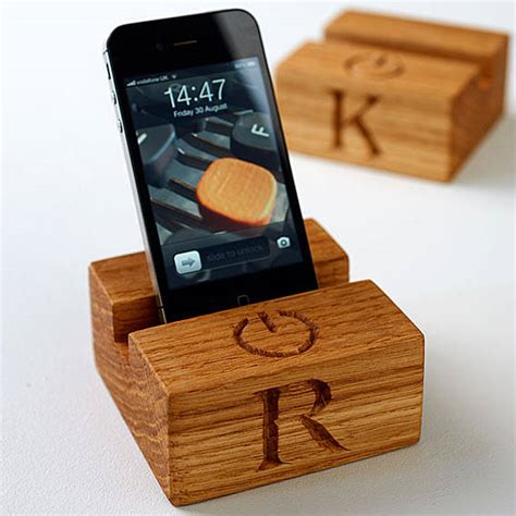 Dijamin Mini Desk Phone Holder Stand Handphone wooden stand for iphone by the oak rope company