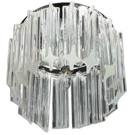 Flush Mount Chandelier Modern Mid Century Modern Triedre Crystal And Chrome Flush Mount