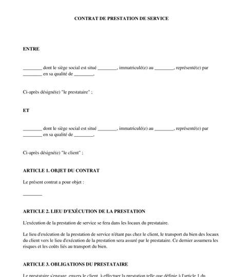 Contrat Cadre Prestation De Service contrat de prestation de service mod 232 le word et pdf