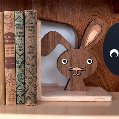 bunny wooden bookend heirloom graphic spaces