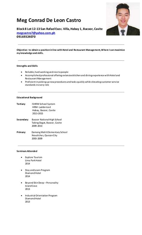 simple resume sle format philippines meg castro resume