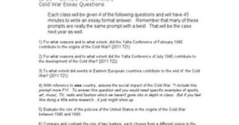 Cold War Essay Questions by Cold War Essay Questions Docx Docs