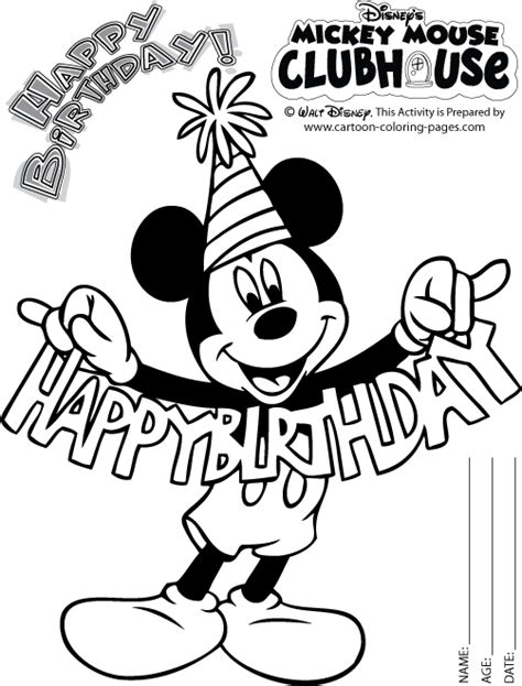 happy birthday mickey mouse coloring pages